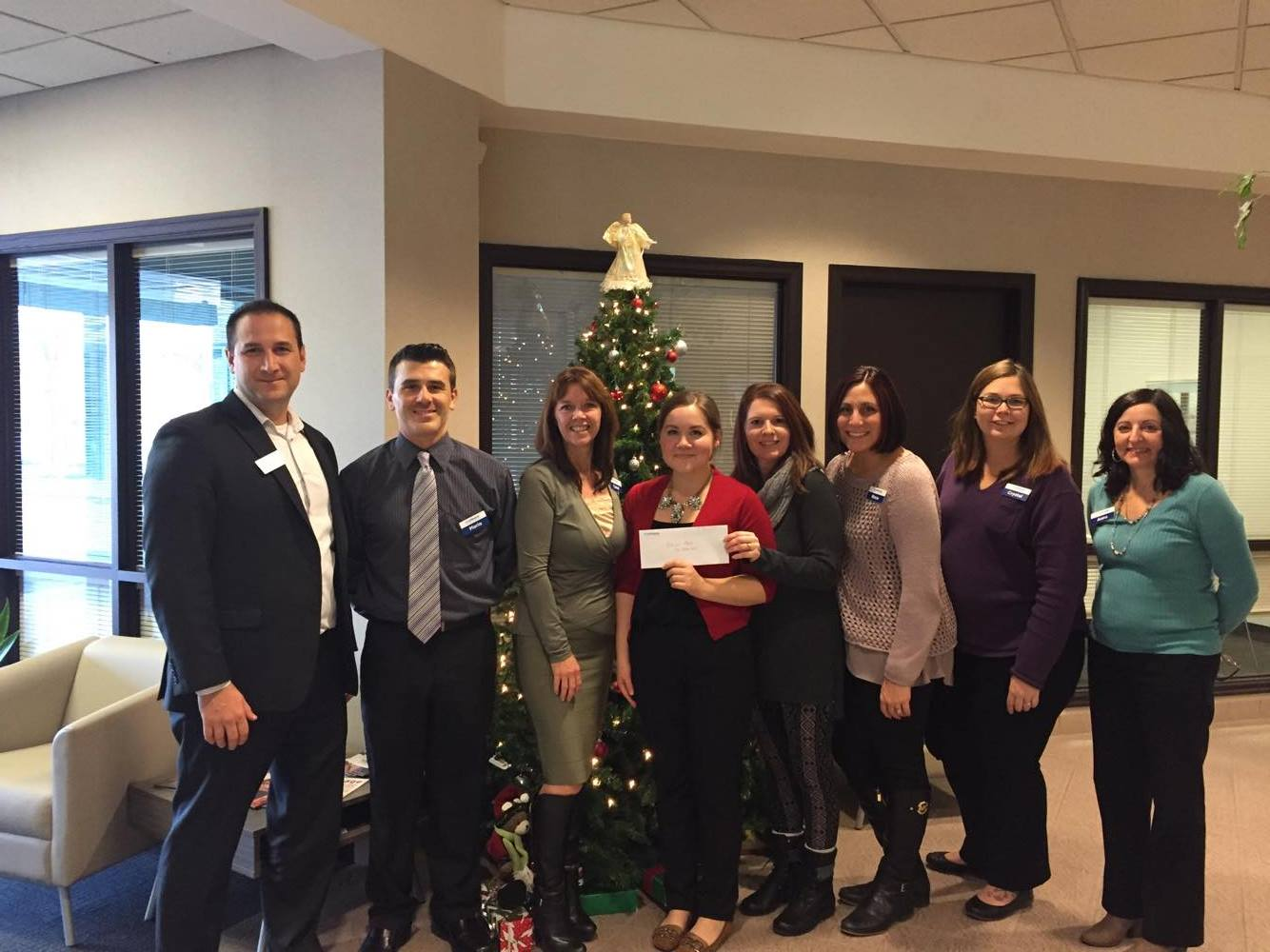 First Ontario bank employees cheque presentation