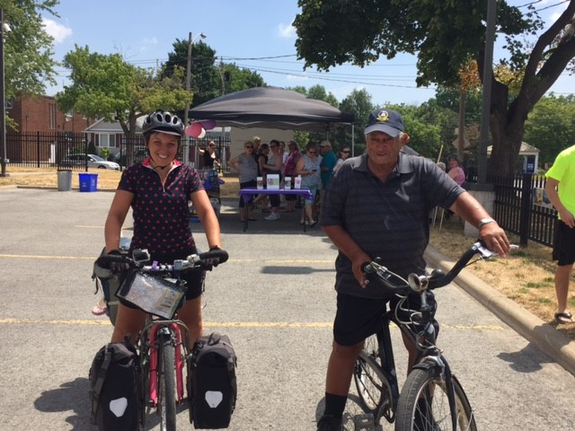Jess Phelan and her grandfather side by side on their bikes
